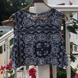 Navy Blue and White Patterned Crop Top